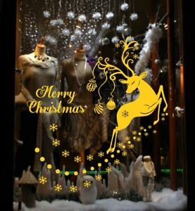 Merry Christmas Reindeer Snowflake Sticker Wall Shop Window Decoration Decal