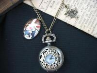 Alice Wonderland White Rabbit  Pocket Watch Necklace Steampunk Gothic Bronze Fae