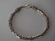 Fine Vintage Sterling Silver Byzantine Woven Cable Filigree Chain Bracelet 21g