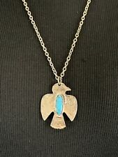 Native Tribal Bird Pendant Turquoise Stone Chain Necklace Length 24""