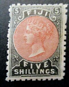 1878 Fiji S# 45, 5 Shillings Carmine Black, MNH OG vg+ Roughness edges