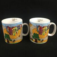 Set of 2 VTG Coffee Mugs VIVI 1982 Cobblestone Lane Street Scene Vivid Graphics