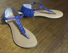 Kelsi Dagger Andelyn Blue Leather Flower Thong Sandal Women Size 8