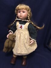 Large Porcelain Doll The Leonardo Collection Beige Dress Green Shirt With Teddy