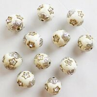 10pcs 12x9mm White Rare Earth & Tibet silver  Spacer Beads GSAM1398