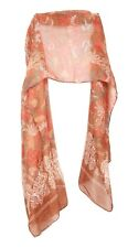 Ochre Brown / Beige / Carrot Red Colorful Detailed Floral Print Scarf (S15)