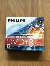 5 DISCS PHILIPS DOUBLE LAYER DVD+R BRAND NEW BOXED