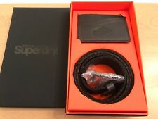 Superdry Premium Medium Leather Belt And Cardholder Gift Set - Black BNWT