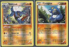 RARE TOXICROAK & CROAGUNK- 2 XY Steam Siege EVO REV HOLO Pokemon Cards