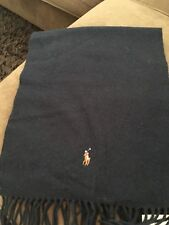 Polo Ralph Lauren Lambswool Scarf Navy with Classic Pony Logo Men Brand New NWT