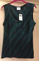 Next Size 14 Top Black And Green Pleats New