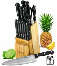 Kitchen Chef Knife Set 15 Pcs in A Wood Butcher Block Holder Sharpener Gift New