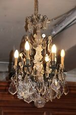 Crystal chandelier lighting French antique chandelier Large chandelier Patina