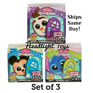 3 Disney Doorables Puffables Plush Mickey Frozen Stitch Collectible Figures Pack