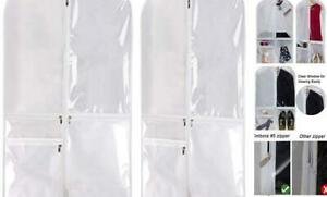 Costume Dance Garment Bag with 3 Clear Zipper Pockets for Suits Dress White