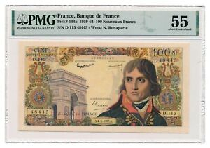 FRANCE banknote 100 Nouveaux Francs 4.5.1961. PMG AU 55 About Uncirculated