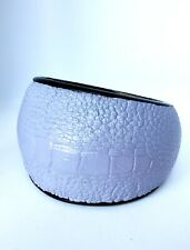 Crocodile Embossed Leather Covered Chunky Bangle Bracelet  Oval Shape Lavender