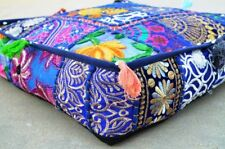 Indian Boho Patchwork Large Floor Ottoman Pouf Cushion Pillow Cover Square Pet