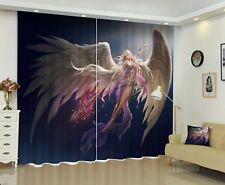 3D Blockout 2 Panel Set Window Curtain Anime Goddess With Wing Star Decor Drapes