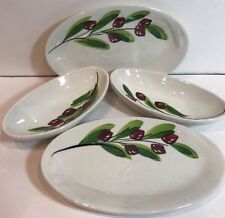 Ceramica CEPA 4 Snack Oval Plates Hand Decorated Olive in Branch Design in Italy