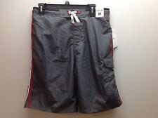 Speedo Men's Lace up Front Swim Trunks, Grey/Black/Red/White, Med