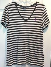 Ralph Lauren Sport T Shirt V Neck LARGE Cotton Gray White Stripe Purple Pony