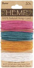 Hemp Cord 20lb Wt 120 feet 100% Natural 4 Spring Colors Pink Teal Gold White
