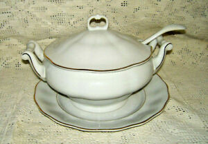 Argenta Tureen w/Ladle, Lid & Serving Dish by Favolina / Gold & White Pattern