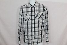 Men's White, Black & Gray BRODY Plaid PEARL SNAP Casual Dress Shirt - Size S