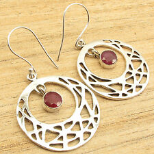Inches ! Silver Plated Fashion Jewellery Red Simulated Ruby Girls' Earrings 2