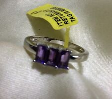 0.75 Ct, Purple Amethyst Ring, 3 Stone, Rhodium Plated Sterling Silver, Size P