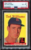 1958 Topps Baseball #1 TED WILLIAMS Boston Red Sox PSA 6 EX-MT