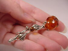 (P-736) ORANGE ROSES bud AMBER Poland .925 Sterling SILVER Lapel PIN brooch