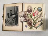 BEAUTIFUL VICTORIAN PHOTOGRAPHS IN STUNNING LEATHER ILLUSTRATED PHOTO ALBUM - VR