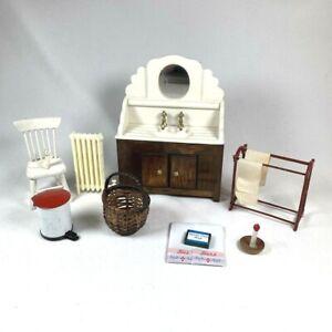 1:12 Scale VINTAGE MINIATURE LOT Ceramic and Wood Sink Bathroom Accessories
