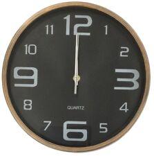 Groß 30cm Rund Wanduhr mit Quarz Uhrwerk Gebürstet Kupfer