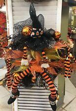 "Fun Witch Legs & Hat & BallsBroom 20""Wreath Halloween Decor -Candy Corn-"