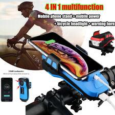 4000mah Portable Power Bank Bike Headlight Bicycle Alarm Bell Horn Phone Holder