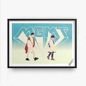 MGMT INSPIRED WALL ART Print / Poster Minimal A4 A3 mgmt art electric feel ROCK