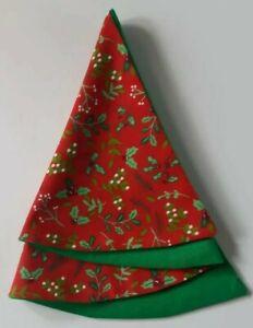 HANDMADE - Red Green  - Holly & Mistletoe - Christmas Tree Napkins (Set of 4)