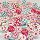 100PCS 2 Holes 15mm Mixed Printing Round Pattern Wood Buttons Scrapbooking New