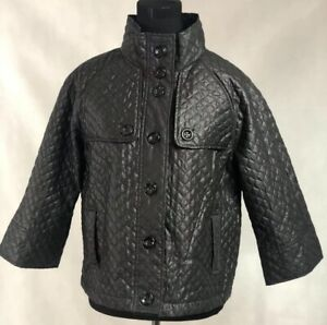 Women's Luii 3/4 sleeve Black Quilted Jacket Lined Sz L