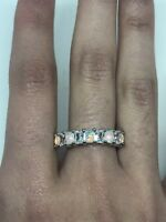 Genuine Ethiopian Opal CZ Crystal Golden 925 Sterling Silver Band Ring Size 8