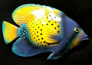 Yellow Blue Dotted ANGEL Fish Wall Hanger Decoration Polyresin