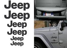 6 Pack Matte Black JEEP Stickers Decals For Wrangler Cherokee Renegade JK XJ TJ