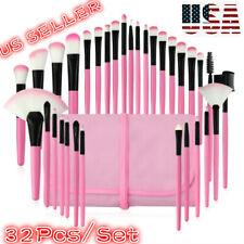 32Pcs Cosmetic Makeup Brush Tools Beauty Eyebrow Shadow Face Brush & Pink Bag Tt