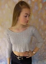 acorn patterned off shoulder cropped style body top