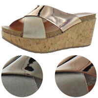 Yellow Box Ilysia Women's Metallic Criss-Cross Slip On Wedge Heeled Sandals