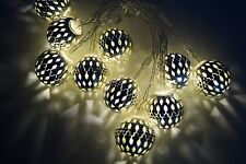 Lichterkette 10 LED Silber Ball Metall Kugel Warmweiß Batterie KV