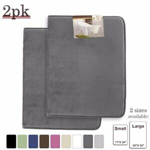 PACK OF 2: Luxurious Bath Mat Memory Foam Filled Non-Slip Absorbent Bathroom Rug